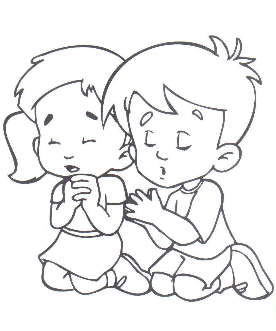 Niños Orando Colouring Pages