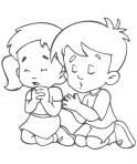 niña niño orando