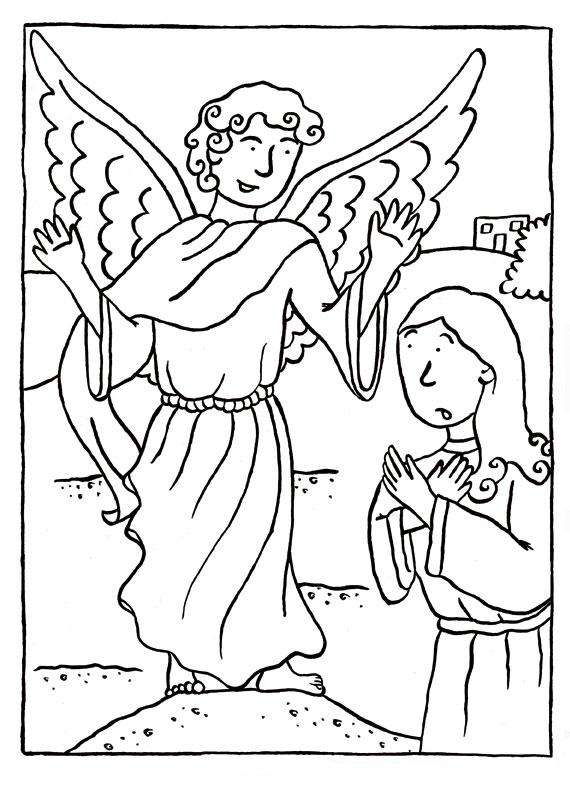Gabriel appears to mary coloring pages coloring pages for Mary and gabriel coloring page