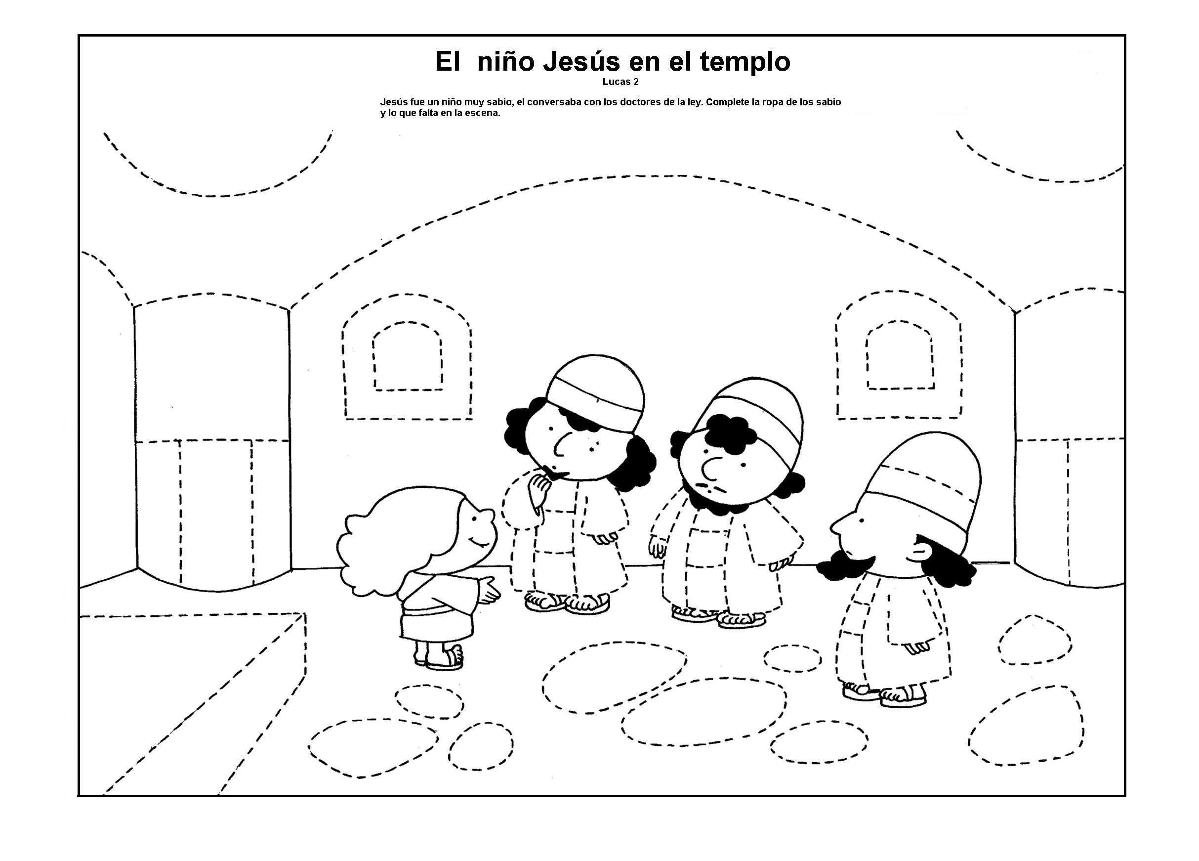 Magnífico Colorear Jesús En El Templo Colección de Imágenes ...